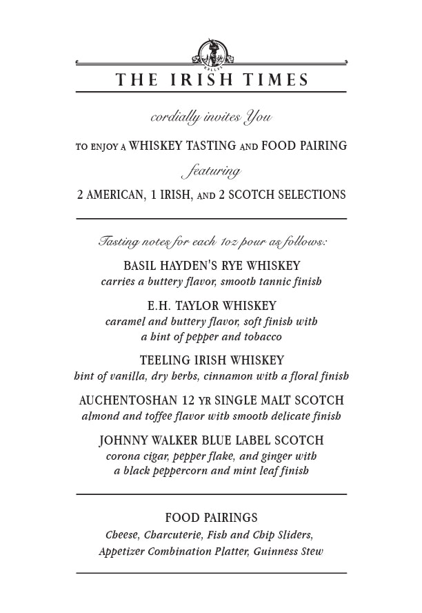 Whiskey Tasting sample notes